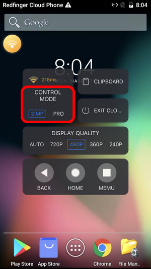 how to control cloud mobile phone on redfinger for android